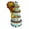 Diaper 'cake' design made with 110 diapers & decorated. Gift idea!